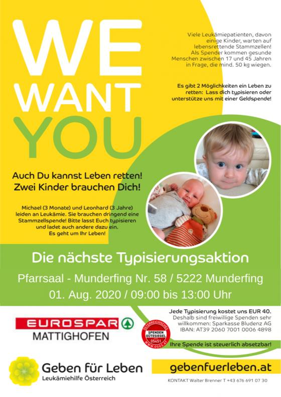 Typisierungsaktion in Munderfing in Oberösterreich