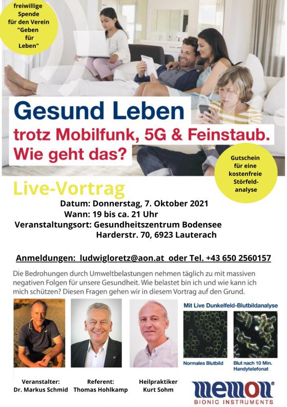 Vortrag Elektrosmog, 5G und Handystrahlung in Lauterach