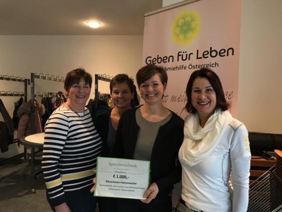 € 1.000,- von den Bäuerinnen in Hohenweiler