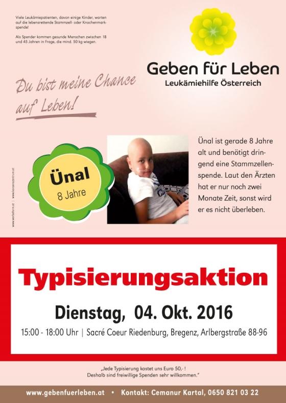 Typisierungsaktion in Bregenz am 4. Oktober von 15-18 Uhr