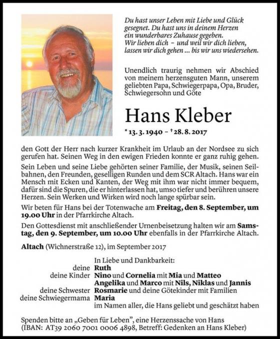 Nachruf Hans Kleber