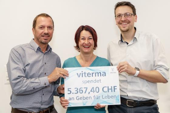 Schweizer Unternehmen Viterma AG aus Au spendet CHF 5.367,40