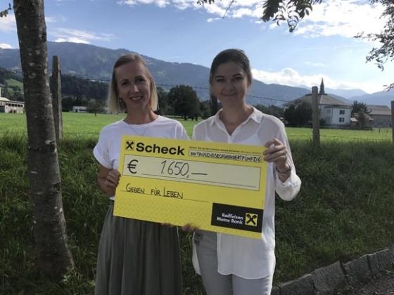 € 1.650,- von der Raiffeisenbank Mittelbregenzerwald