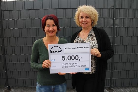 Firma Nutzfahrzeuge Haubner aus Lustenau spendet € 5.000,-