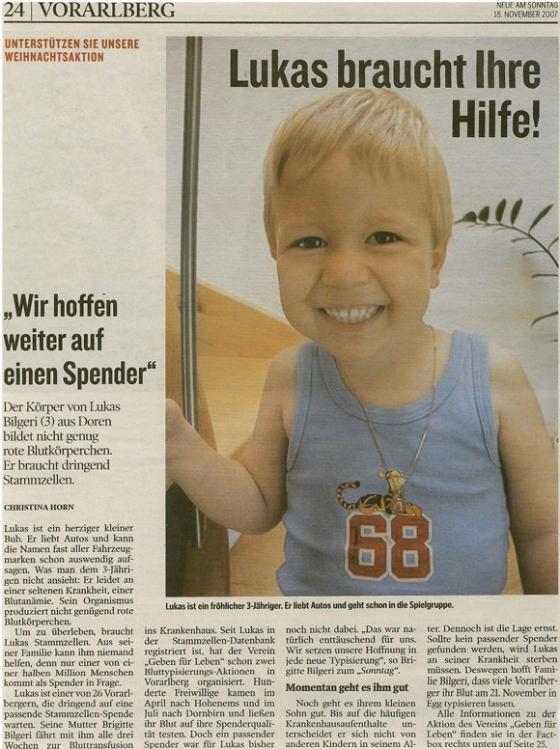 Lukas hat einen Spender!!!
