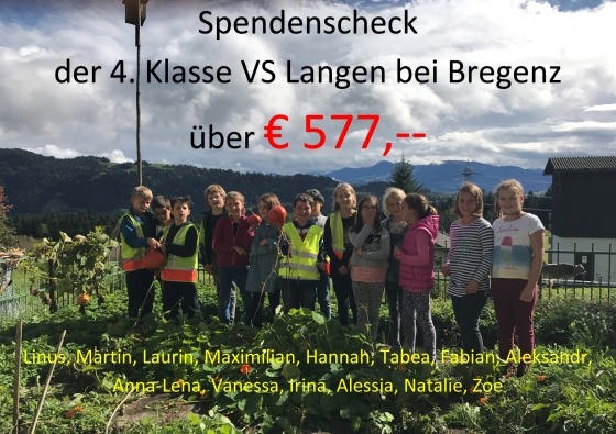 Viertklässler der Volksschule Langen spenden € 577,-