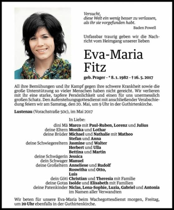 Nachruf für Eva-Maria Fitz