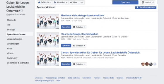 Spendenaktion über Facebook