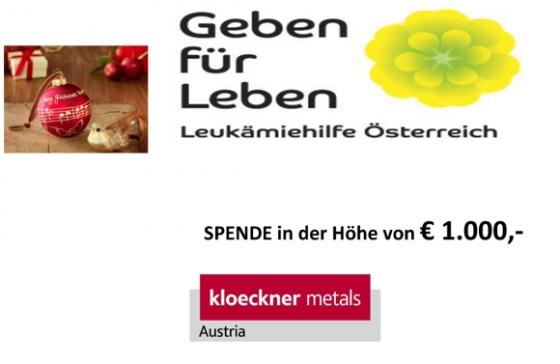 € 1.000,- von Kloeckner Metals Austria