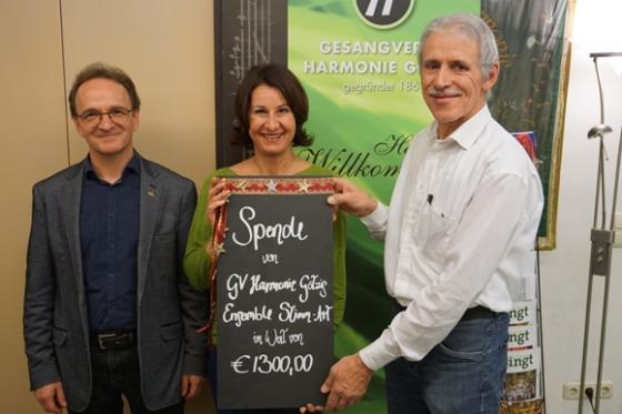 € 1.300,- vom Gesangsverein Harmonie in Götzis