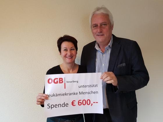 ÖGB Vorarlberg spendet € 600,-