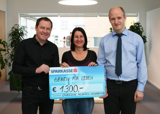 € 1.300,- durch Mitarbeiter der Sparkasse Feldkirch