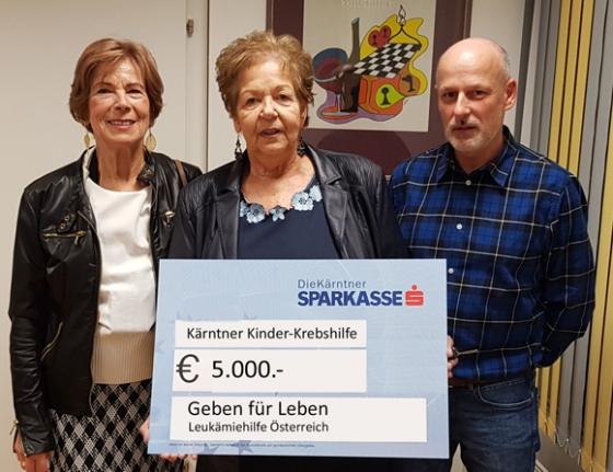€ 5.000,- von der Kärntner Kinderkrebshilfe