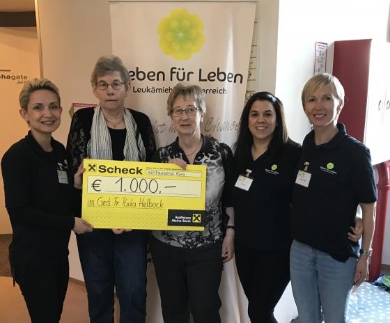 Im Gedenken an Paula Helbock € 1.000,- gespendet