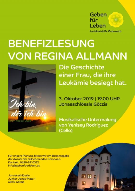 Benefizlesung von Regina Allmann mit Sponsoring