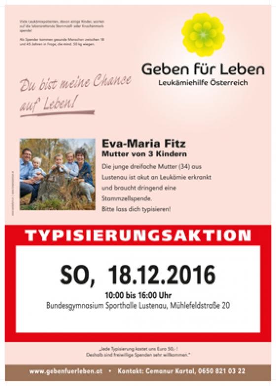 Typisierungsaktion für Eva-Maria Fitz aus Lustenau am 18.12.