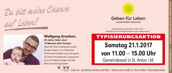 Typisierungsaktion am 21. Jänner 2017 in St. Anton im Montafon