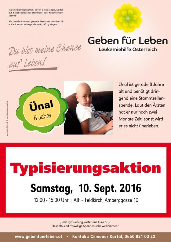Typisierung für 8-jährigen Ünal in Feldkirch