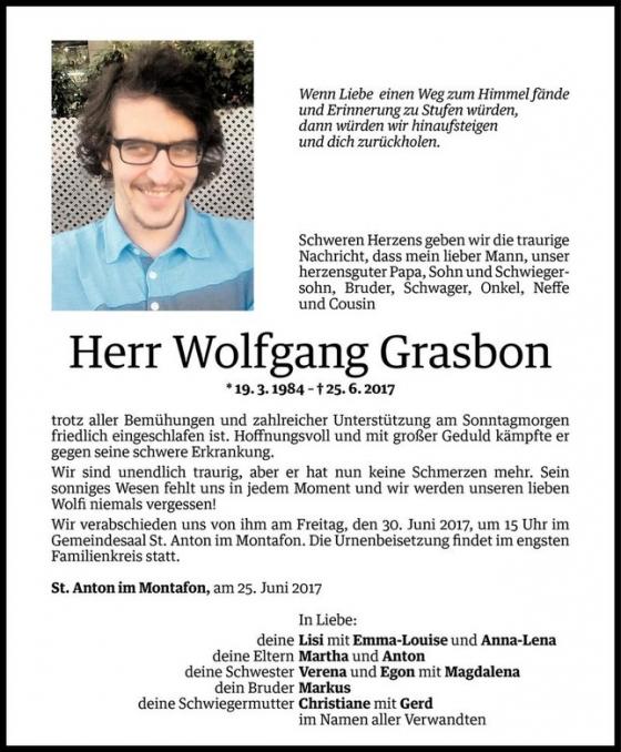 Nachruf Wolfgang Grasbon